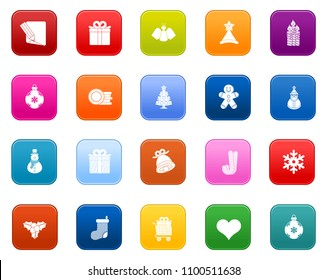vector christmas icons set, winter celebration xmas holiday icons
