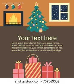 vector christmas illustration of new year tree in interior with text sample new year card