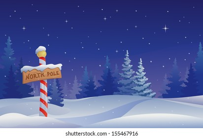 Vector Christmas illustration with a North Pole sign