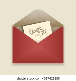 "Vector Christmas illustration. Open red envelope of decorated paper and a card with the words ""Merry Christmas"" inside."