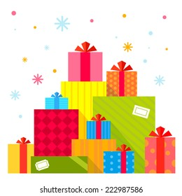 Vector Christmas illustration of the piles of presents on white background with colorful snowflakes. Color bright flat design for card, banner, poster, advertising, blog