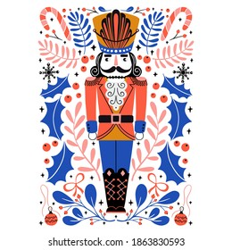 Vector Christmas illustration in Scandinavian style. Cute nutcracker with mistletoe, berries, candy cane. Christmas Holiday greeting card
