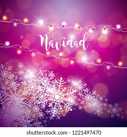Vector Christmas Illustration with Spanish Feliz Navidad Typography on Violet Background. Holiday Light Garland and Snowflakes Design for Greeting Card, Party Invitation or Promo Banner.