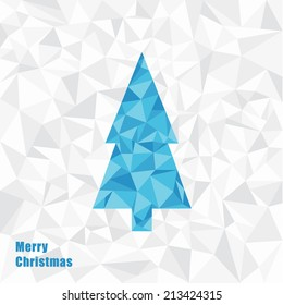 Vector Christmas illustration. Triangle Christmas tree. Fractal square background with place for your content. Neutral Christmas card.