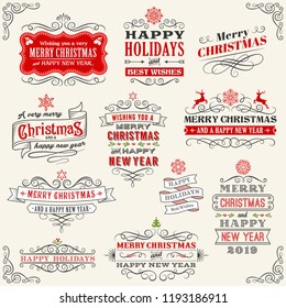 "Vector Christmas labels with ""Merry Christmas and Happy new year"" variations. The art is fully layered for ease of editing."