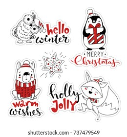 Vector Christmas labels set. Sticker vector set with cartoon Christmas characters.