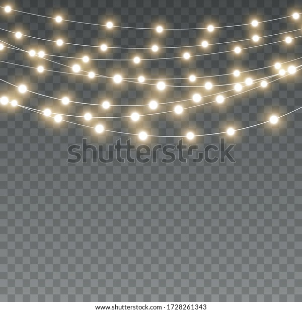 Vector Christmas lights, isolated on a transparent background. Christmas glowing garland. White translucent New Year decoration lights. Led neon lamp. Luminous lights for Christmas holidays