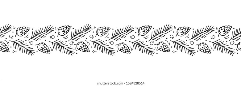Vector Christmas monoline scandinavian seamless pattern ornament new year fir tree and leaves. Winter doodle xmas background for children holiday textile, wallpaper