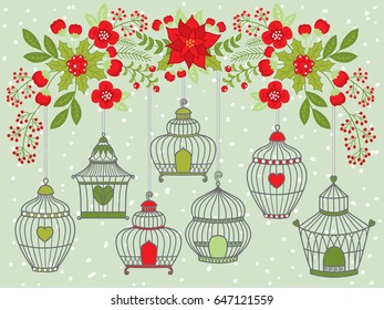 Vector Christmas and New Year birdcages hanging on floral branch on snow background. Vector floral branch with poinsettia, berries, holly. Birdcage clipart. Christmas and New Year Vector Illustration.