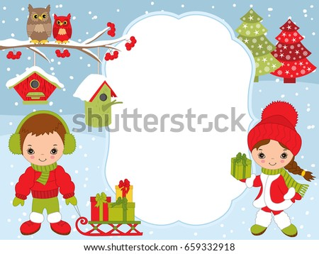 vector christmas and new year card template with cute little kids owls on the branch