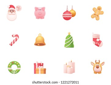 Vector Christmas and New Year celebration icons set. Includes Santa, reindeer, Christmas tree, gifts, candles, gingerbread man, Christmas balls and stocking