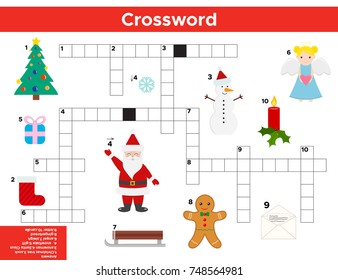 Vector Christmas, New Year Crossword in English. Education game for children with answer. Printable worksheet.