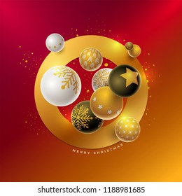 Vector Christmas and new year greeting card design with 3d white, black and gold Christmas balls . Elements are layered separately in vector file.
