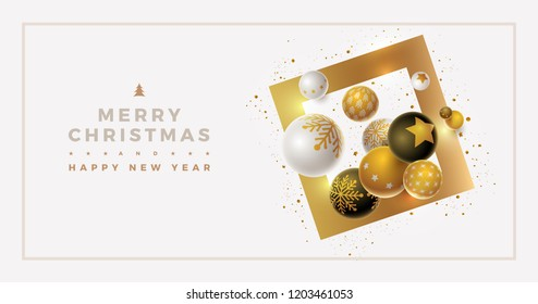 Vector Christmas and new year greeting banner design with 3d white, black and gold Christmas balls. Clean, white background. Elements are layered separately in vector file.