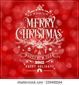 Vector Christmas And New Year Greeting Card On Red Background