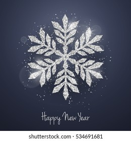 Vector Christmas New Year greeting card with sparkling glitter silver textured snowflake. Seasonal holidays background.