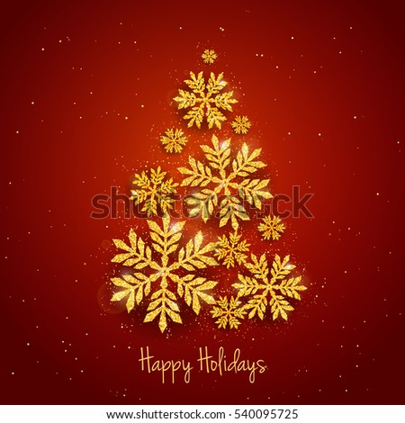 vector christmas new year greeting card with sparkling glitter golden textured snowflakes make christmas tree shape