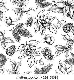 Vector Christmas and New Year hand drawn vintage pattern for holiday design. Great for greeting and invitation cards, banners, postcards, gift wrapping paper
