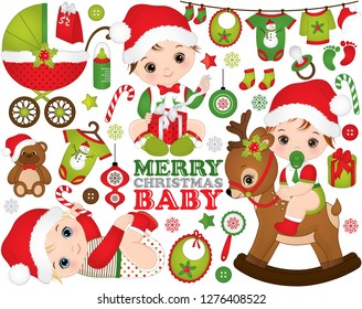 Vector Christmas and New Year set with cute little baby boys, toys, decorations and various Xmas elements. Vector Christmas baby boy. Vector baby boy shower. Christmas baby boys vector illustration