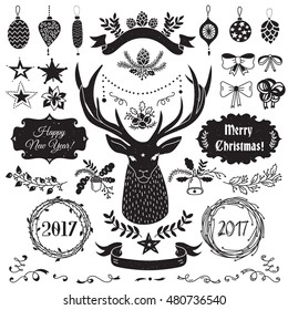 Vector Christmas and New Year set of badges, ribbons, ornaments, icons, frames, labels and design elements for greeting cards, gift tags, invitations. Black and white, vintage style