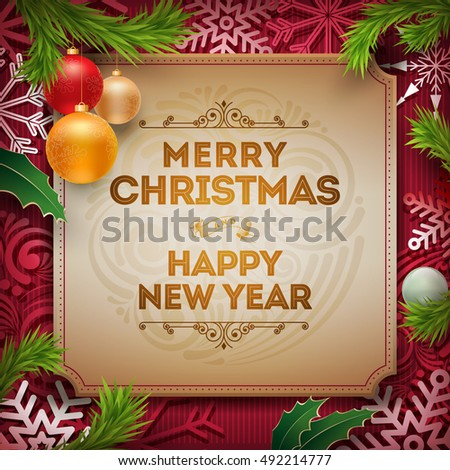 Vector christmas new year wishes on stock vector royalty free vector christmas and new year wishes on card christmas related ornaments objects on color background m4hsunfo