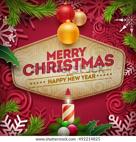 vector christmas and new year wishes on card christmas related ornaments objects on color background