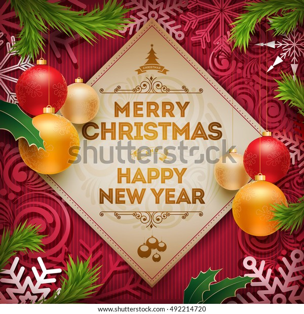 Christmas And New Year Wishes.Vector Christmas New Year Wishes On Stock Vector Royalty