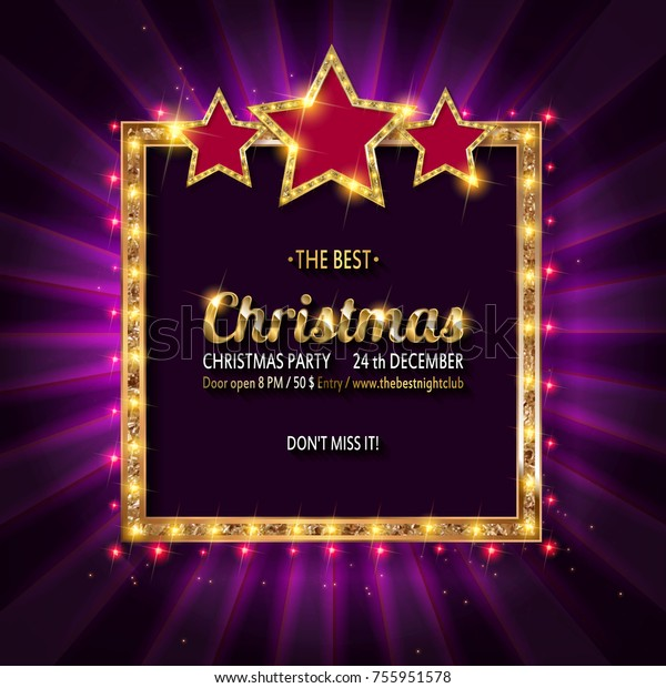 Vector Christmas Party Invitation Holiday Background Stock