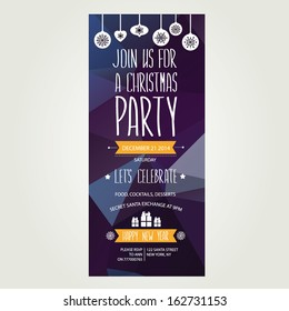 Christmas party invitation retro typography ornament stock vector vector christmas party invitation with toys holiday background and design banner vector template with toneelgroepblik Choice Image