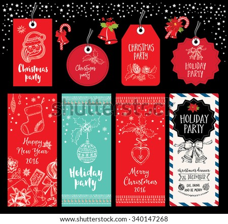 vector christmas party invitation with toys holiday background and design banner vector template with