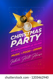Vector Christmas Party poster design template with 3d white, black and gold Christmas balls . Elements are layered separately in vector file.