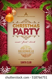 Vector Christmas Party poster design template. Christmas related ornaments objects on color background. Elements are layered separately in vector file.