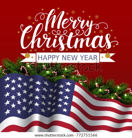 vector christmas patriotic card with tree lettering and flag of usa merry christmas and