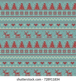 Vector christmas  pattern  illustration of a knitting with a deer
