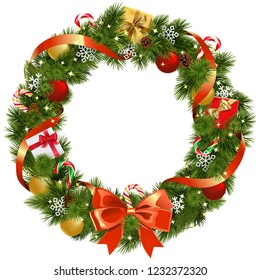 Vector Christmas Pine Wreath with Red Bow isolated on white background