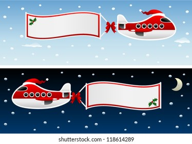 vector christmas plane with banners