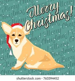 Vector Christmas polygon dog collection. Dog in Christmas Santa hat. Welsh Corgi