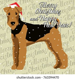 Vector Christmas polygon dog collection. Dog in Christmas Santa hat. Airedale Terrier
