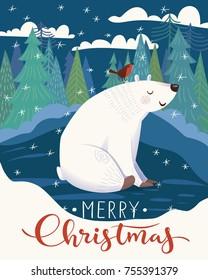 Vector Christmas poster design with cute crtoon polar bear