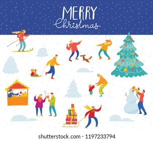 Vector Christmas poster for winter holiday season with abstract people doing winter activities.