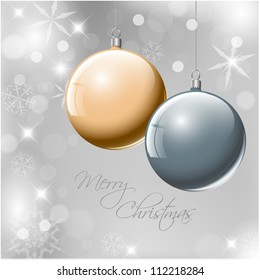 Vector Christmas realistic baubles on a silver background