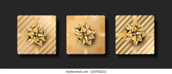 Vector Christmas realistic gifts. Set of isolated gifts with gold bow