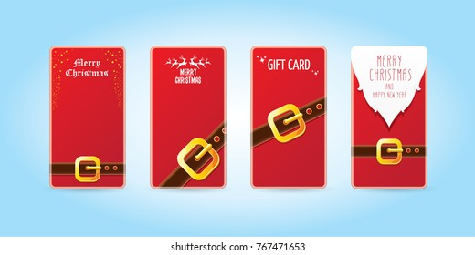 vector christmas red vertical banners set. christmas vertical background collection with santa claus golden belt and beard . xmas greeting card