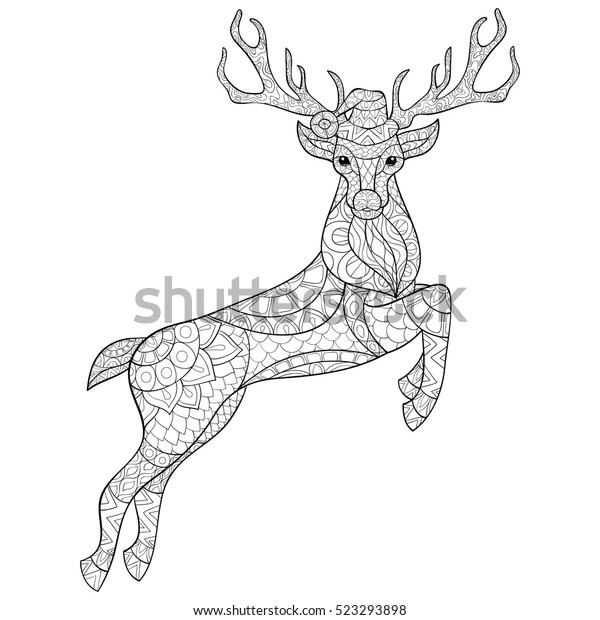 Printable Santa And Reindeer Coloring Page - Christmas Coloring ... | 620x600