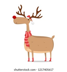 Vector Christmas reindeer in a red hat and scarf isolated on white background