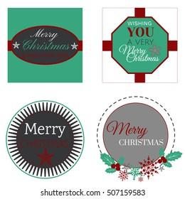 Vector Christmas retro badges set
