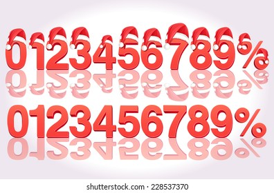Vector Christmas Sale 3D Numbers and Percentage with Santa hat
