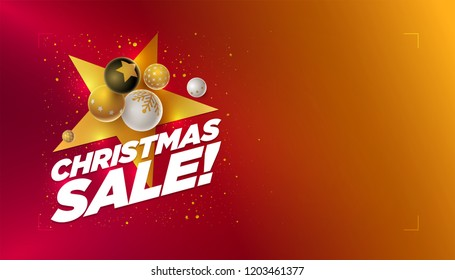 Vector Christmas Sale poster design template with 3d white, black and gold Christmas balls. Red to yellow bright color gradient background. Horizontal composition with copy space.