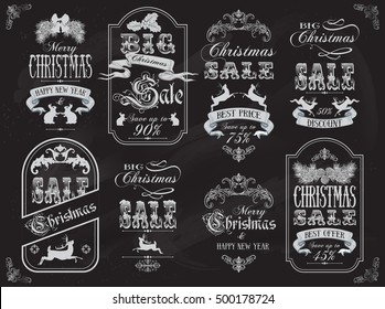 Vector Christmas sale vintage label banners set with deers, rabbits and ribbons on chalkboard background.Christmas design for any kind of goods discount. Retro style