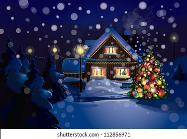 Vector of Christmas scene, snowfall is in separated layer.